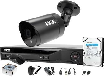 1x bcs-tq4803ir3-g zestaw do monitoringu 8 mpx po skrętce z podglądem nocnym: rejestrator bcs-xvr04014ke +dysk 1tb + akcesoria