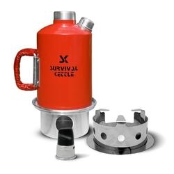 Aluminiowa kuchenka czajnik turystyczny survival kettle czerwona - zestaw