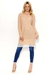 Łososiowy sweter tunika z koronkową wypustką