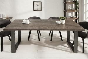 Industrialny stół iron craft z szarym blatem z drewna mango  90x160 cm, nogi stalowe antracytowe