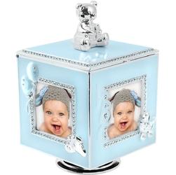 Błękitna karuzela miś z pozytywką, szkatułką i miejscem na 4 zdjęcia na chrzest roczek dedykacja - błękitny