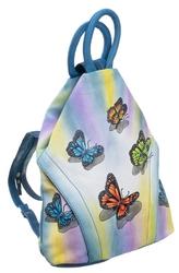 Plecak damski skórzany ręcznie malowany w motyle