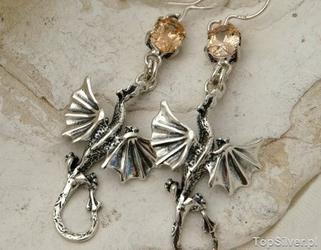 Dragon - srebrne kolczyki z topazem złocistym