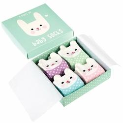 Skarpetki dla niemowląt 4 pary, Króliczki, Rex London - króliczki