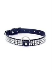 Skórzana obroża 2cm srebrne kryształki | 100 dyskrecji | bezpieczne zakupy