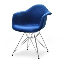 Fotel tunis granatowy welur nowoczesny