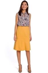 Żółta elegancka spódnica do kolana z falbanką