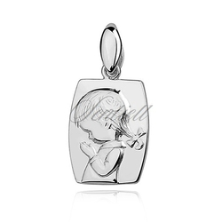 Srebrny medalik - modlące się dziecko - rodowanie