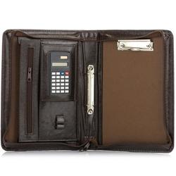 Aktówka biwuar na dokumenty a5 z kalkulatorem solier st02 ciemny brąz - brązowy