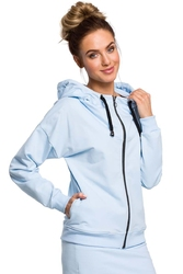 Błękitna rozpinana bluza z kapturem