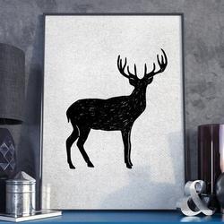 Plakat w ramie - grunge deer , wymiary - 50cm x 70cm, ramka - biała