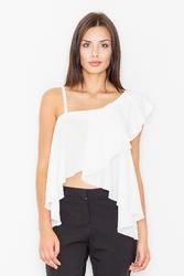 Ecru asymetryczna bluzka z dużą falbaną