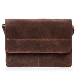 Skórzana torba męska na ramię paolo peruzzi ga143 ciemnobrązowa - c. brązowy