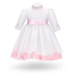 Sukienka na chrzest do chrztu biała z różowymi płatkami róż