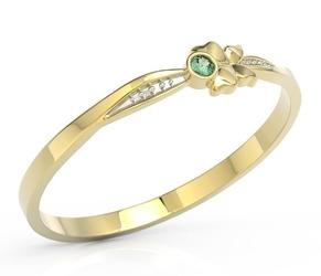 Pierścionek motylek z żółtego złota z zieloną cyrkonią bp-89z-r-c - żółte z rodowaniem
