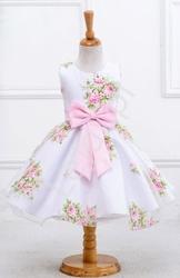 Biała sukienka w nadrukowane róże dla dziewczynki