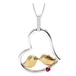 Irin; srebrny wisiorek z rubinami