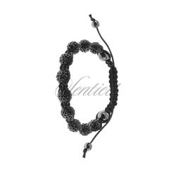 Bransoletka srebrna sznurkowa pr.925 czarne kulki crystal beads z krzemem