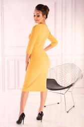 Żółta dzianinowa dopasowana sukienka z guzikami