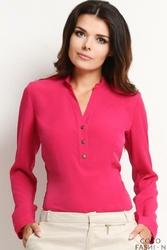 Różowa Stylowa Koszula z Guzikami przy Dekolcie