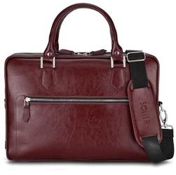 Skórzana torba na laptop z uchwytem na walizkę solier sl23 bordowa - bordowy
