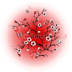 Obraz na płótnie canvas dwuczęściowy dyptyk kwiat wiśni przed słońcem