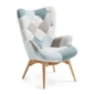 Fotel knot jasnoniebieski patchwork
