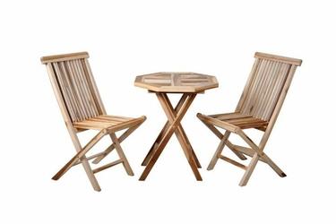 Komplet mebli ogrodowych, divero, z drzewa tekowego, stół, dwa krzesła