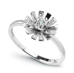 pierścionek białe złoto 58514k i diament