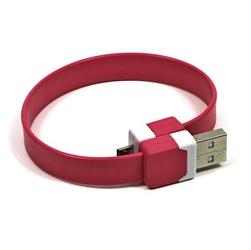 Kabel USB 2.0, USB A  M- USB micro M, 0.25m, różowy, Logo, blistr, na nadgarstek