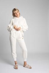 Pluszowe spodnie joggers - ecru