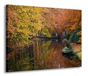 Jezioro w lesie, jesień - obraz na płótnie