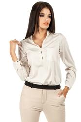Beżowa koszulowa bluzka ze stójką