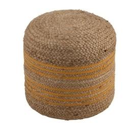 Okrągła pufa pleciona z juty ochra