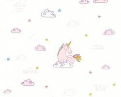 Tapeta unicorn biała 36158-1 jednorożce