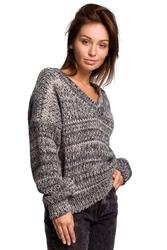 Wielokolorowy sweter melanżowy z dekoltem v - szary