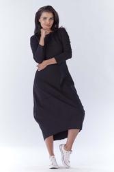 Długa sportowa czarna sukienka bombka