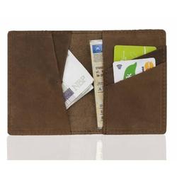 Skórzany męski portfel slim wallet brodrene sw07 jasny brąz