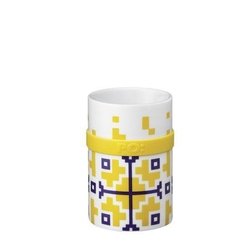 Kubek ring mug, yellow folkloric blomus