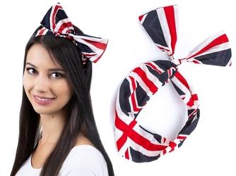 Opaska do włosów szeroka pin up na druciku flaga