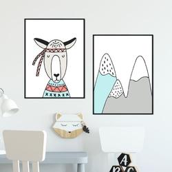 Zestaw plakatów dziecięcych - friendly mountains , kolor ramki - czarny, wymiary - 70cm x 100cm 2 sztuki