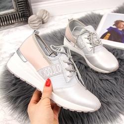 Sneakersy skórzane na koturnie srebrne vinceza - srebrny