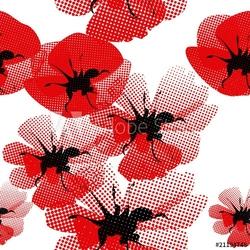 Naklejka samoprzylepna kwiatowy wzór z makiem