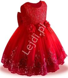Czerwona sukienka dla dziewczynki tiulowa, zdobiona błyszczącymi cekinami