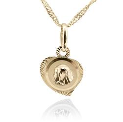Złoty medalik łańcuszek matka boska serduszko pr. 585 chrzest komunia grawer - białe z niebieską kokardką