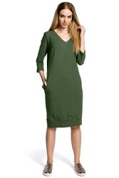 Sukienka codzienna dzianinowa z dekoltem w szpic - zielona