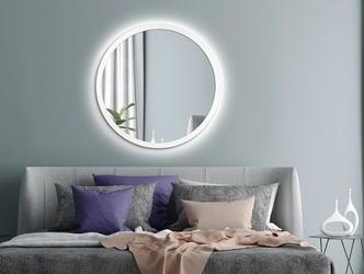 Okrągłe lustro scandinavia bold  z oświetleniem led z białą ramą