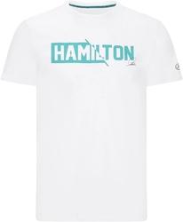 Koszulka mercedes amg petronas f1 lewis hamilton 44 biała - biały