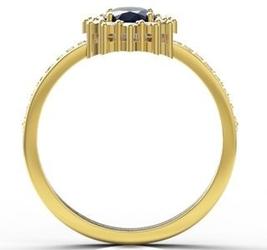 Pierścionek z żółtego złota z szafirem i diamentami lp-55z