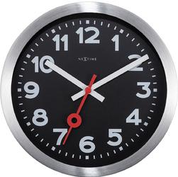 Zegar stojący  ścienny Station czarny cyferblat Nextime 19 cm 3998 ARZW